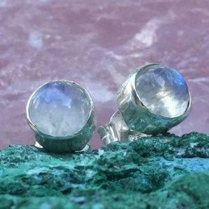 Moonstone Studs Sterling Silver Earrings 925 *NEW*